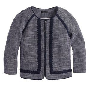 J.Crew Petite Navy Tweed Jacket